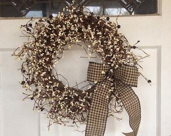 ON SALE Grapevine Wreath - Pip Berry Wreath - Christmas Wreath - Americana Wreath - Primitive Berry Wreath - Holiday Wreath