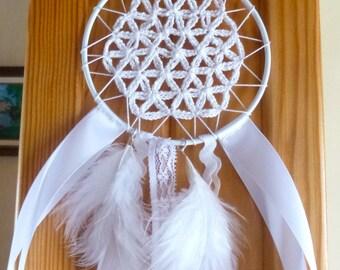flying dream Bohemian flower of life white