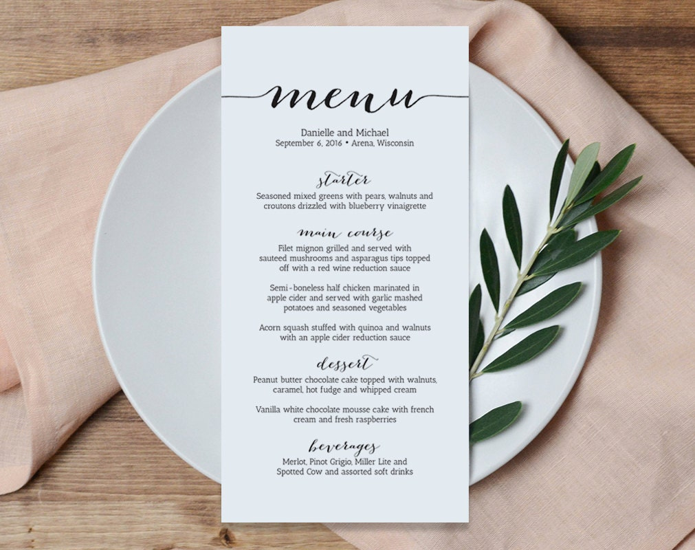 Priceless image throughout free printable wedding menu template