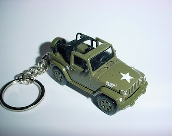 3D 2011 US ARMY Willys Jeep custom keychain by Brian Thornton keyring key chain finished in dk green color factory trim 4x4 11