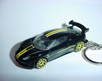 3D Lotus Evora GT4 custom keychain by Brian Thornton keyring key chain finished in black/yellow color race trim
