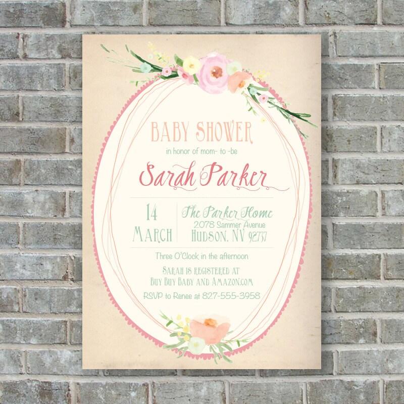 shabby chic baby shower invitation girl baby shower by poppinsink