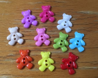 Little Multi Coloured Teddy Bear Buttons - Craft, Sewing, Scrapbooking Embellishment, Cute, Baby Shower, Birthday
