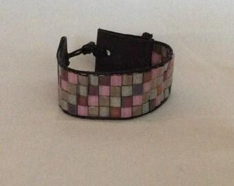 Wide miyuki tila Beads Bracelet trimmed with genuine leather!