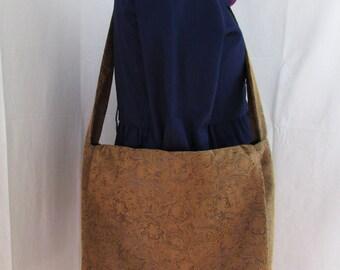 Faux Suede Brown Messenger Bag
