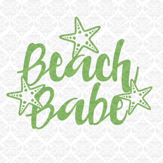 Beach Babe Swimming Summer Ocean Sun Sand Life SVG DXF STUDiO PNG Ai Eps Vector Instant Download Commercial Cutting File Cricut Silhouette