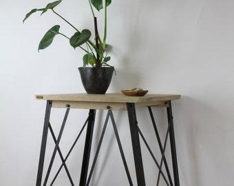 KONK! - Oak/Steel INDUSTRIAL Side Table - Corner Stand - Rustic, Vintage, Chic