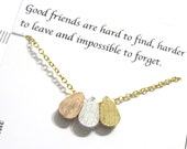 Long Distance Friendship bracelet, A5 Gold Chain Friendship quote gift, Teardrop bracelet, BFFs Best friend bracelet, Best Friend Gift