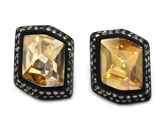 Irregular yellow edge black crystal earrings
