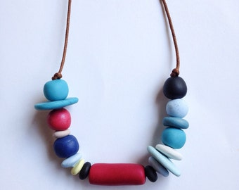 Fun quirky christmas gift//Polymer Clay Bead Necklace//Multi Colored Beads/// christmas present//Multi shape beads//Gift for girlfriend