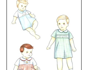 Creations by Michie' #134 - Baby Romper with Yoke - Sizes: 3 – 24 mos. - Sewing Pattern Instant Download Printable