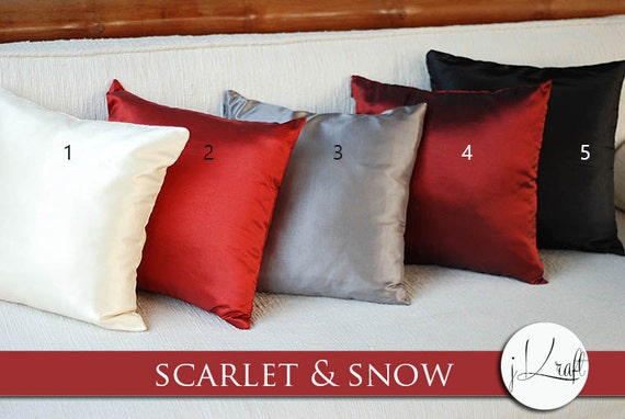 items similar to scarlet snow cardinal solid silk pillow cov