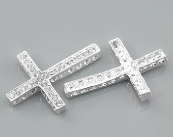 "10 Silver Plated Clear Rhinestone Cross Connectors 36x25mm(1 3/8""x1"")"