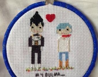 Bulma and Vegeta super parody cross stitch pattern