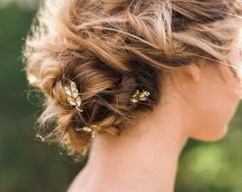 Set of 3 Crystal Laurel Pins laurel leaf pins crystal hair pins bridal hair pins gold hair pins silver hair pins wedding hair pins #140