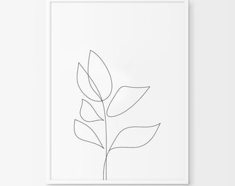 Leaf Art, Leaf Print, Simple Decor, Simple Drawing, Spring Flower, Plant Art, Plant Decor, Spring Art, Tulip Art, Tulip Print, Tulip