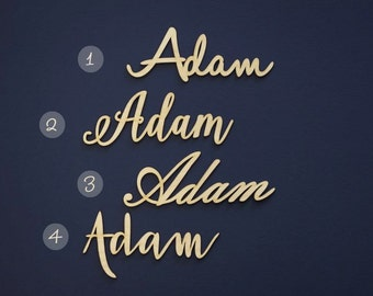 Laser cut place names made from plywood - set of 10 table names