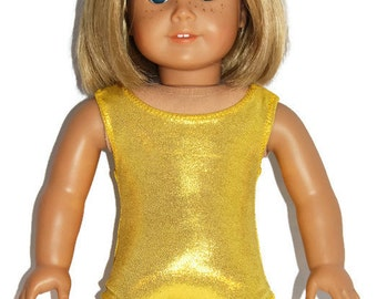 """Yellow Shiny Leotard - Doll Clothes fits 18"""" American Girl Dolls"""