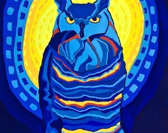 Great Horned Owl Art Print, Owl Art Print, Modern Owl Art Print, Gouache Art Print, Bird Art Print