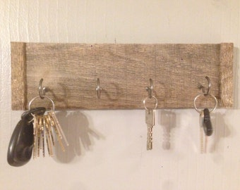 Rustic Key Holder, Key Rack, Entry, Storage, Organizer, Key, barnwood, cup hook, hooks, 4 hooks