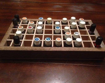 Essential Oil Box/tray/holds 40 (15ml) bottles and 10 roller bottles/trunk/barnwood/young living/ oils