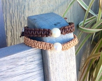 Pearl leather macrame bracelet; beaded shamballa bracelet; pearl bracelet; woven braided jewelry