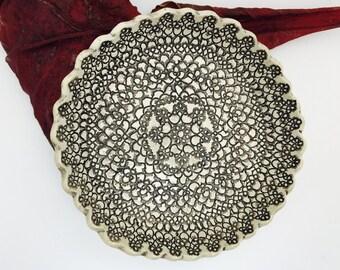 Handmade ceramic lace imprint dish