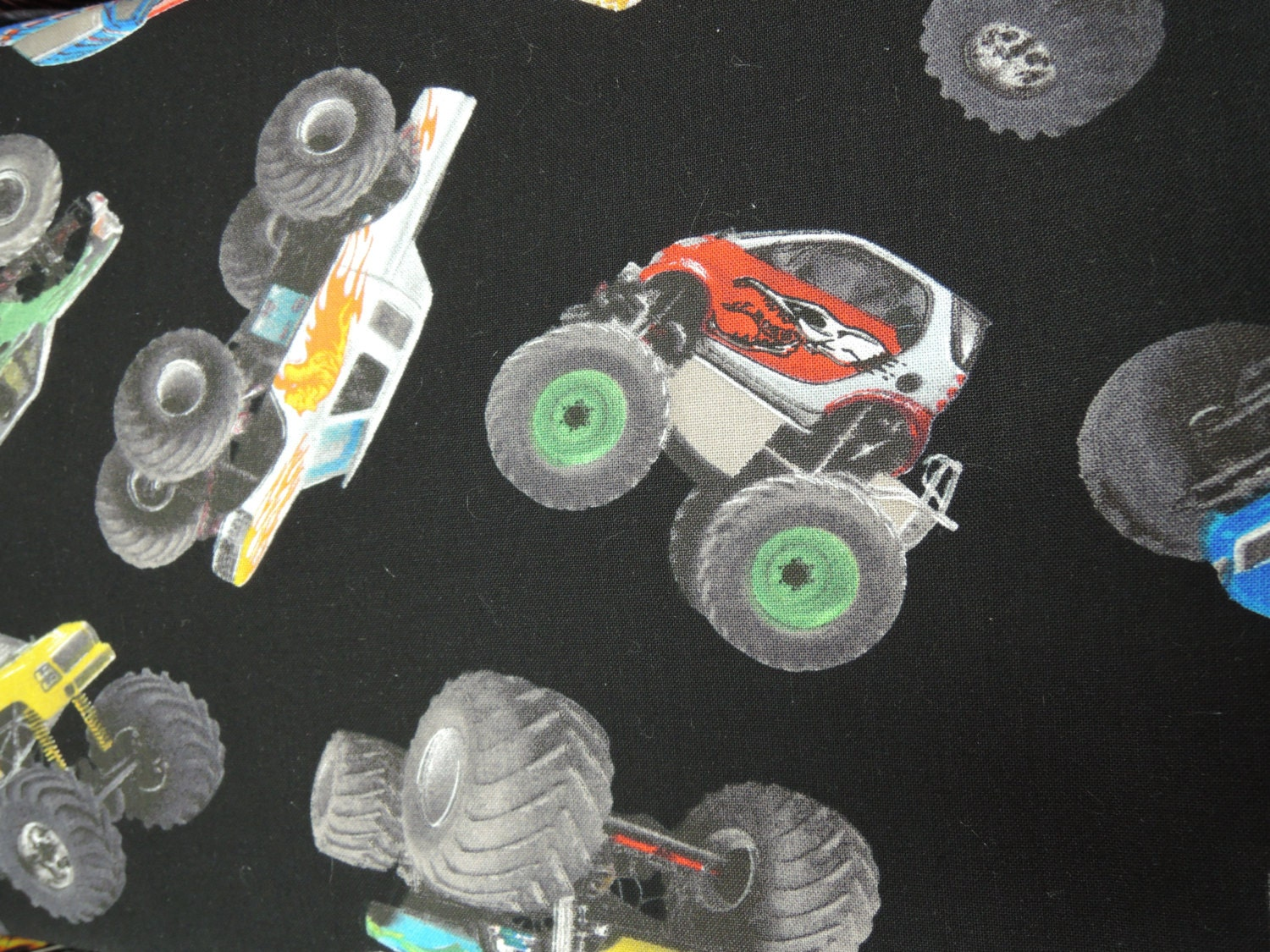 In motion fabric monster trucks quilt by for Monster truck fabric