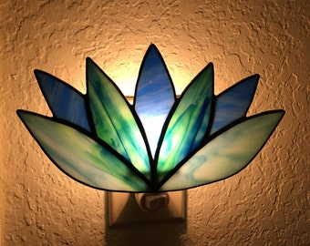 Lotus Flower Stained Glass Night Light