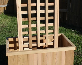 Brand New All Cedar Garden Planter Box with Trellis, 2 feet by 3 feet by 2 feet high with 6 foot trellis - Free Shipping