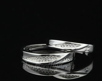 2pcs Free Engraving Adjustable Ring Couple Rings Foliage Ring White Gold Silver Ring Anniversary Ring Wedding Ring His And Her Promise rings