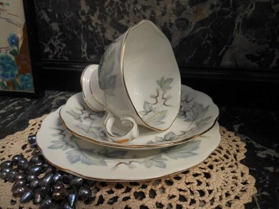 SALE 20% Off....ROYAL ALBERT Trio - Teacup 'Silver Maple' - English bone china - Gilded - Vintage Trio