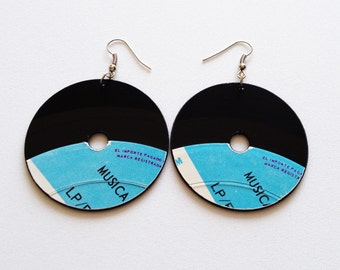 Vinyl Earrings Upcycled Recycled Black Eco Vinyl Records Drop Dangle Earrings Unique Handmade Vintage Retro Black Hipster Fashion Music DJ