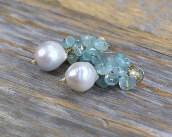 Baroque pearl earring large white baroque pearls and vintage faceted AQUAMARINE cluster aquamarine cluster earring pearl cluster earring