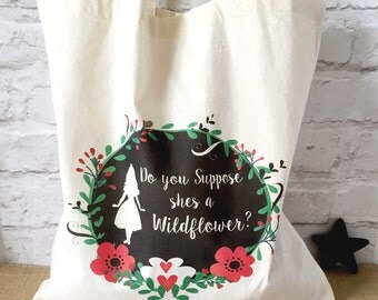 Alice in Wonderland wildflower - Natural Cotton Tote Shopping Bag. FREE SHIPPING