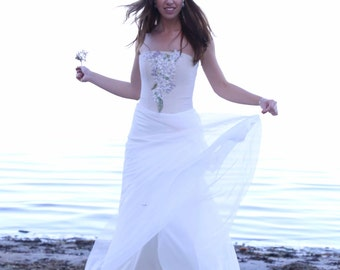 Vintage Inspired Chiffon Wedding Dress with A-Line  Romantic Wedding Gown Corset Embroidered  Chiffon Skirt