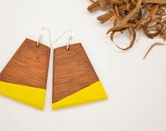 Yellow Earrings, Strip Earrings, Strip Wood Earrings, Wood Earrrings, Dangle Earrings, Handmade Earrings, Eco Chic Earrings, Wooden Earrings