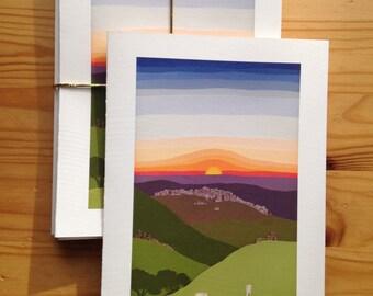 Sunrise Journey to Bethlehem set of 8 blank greeting cards (5x7)