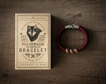 Men's bracelet-Women's Grape marc > > > Unisex mustard in Paracord 550-Handmade Pulsemade parachord bracelet Mens/Womens Burgundy > > > Goldenrod