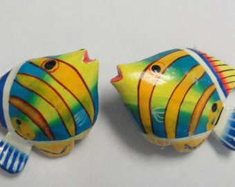 Wooden Tropical Fish Clip Earrings