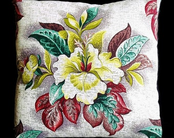 "Vintage Barkcloth Pillow, 18""x18"" – Insert Included"