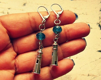Lighthouse Earrings, Lighthouse Jewelry, Lighthouse Gift, Nautical Earrings, Nautical Jewelry, Nautical Accessories, Nautical Gifts