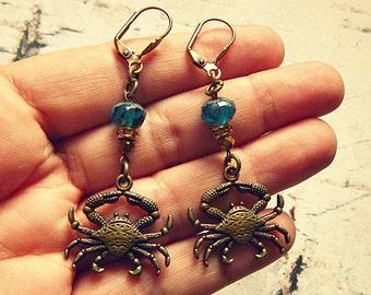 Crab Earrings, Crab Jewelry, Crab Accessories, Crab Gifts, Sea Life Earrings, Sea Life Jewelry, Beach Earrings, Salvina's Treasures
