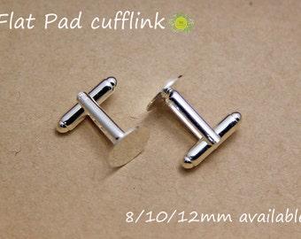 Silver Plated Cuff link blanks-12mm Glue Pad Cuff links-Bezel Tray Cufflinks Blank-Silver Cufflink Trays-Fit 12mm Epoxy Sticker-Choose Qty