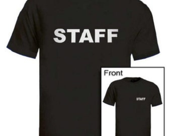 Black Staff T-shirt Left Chest & Back