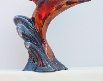 Raku Breaching Dolphin Statue