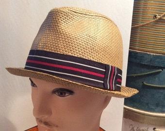 50% Off Sale Vintage Straw Fedora Hat