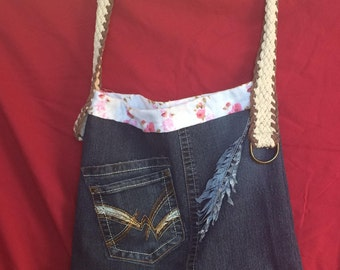 Denim Purse with Feather