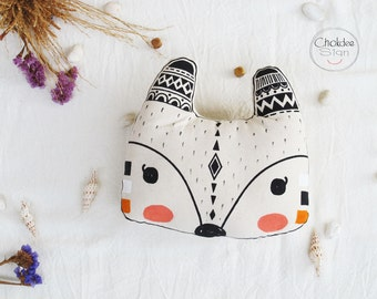 Fox pillow, cotton canvas material, Original hand painted with silk screen .
