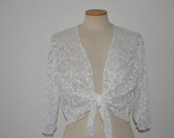 White Bolero, white lace bridal bolero